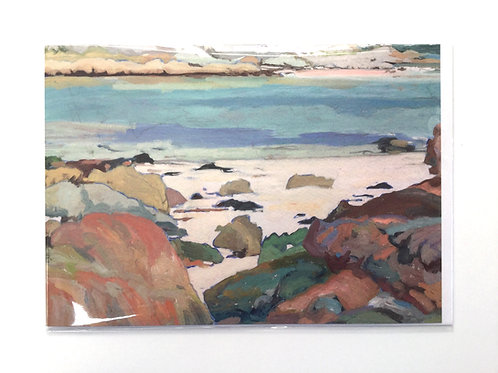 Isle of Iona, Coloured Rocks and Calm Sea at Chalbha Bay // Greeting Card