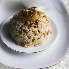 Linsen + Reis und Maccaroni mit Röstzwiebeln