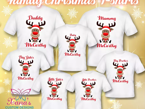 Personalised  family Christmas T shirts Adults