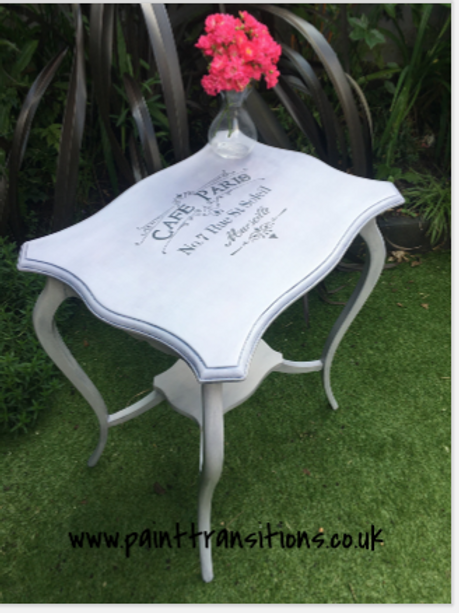 Shabby chic stencilled side table
