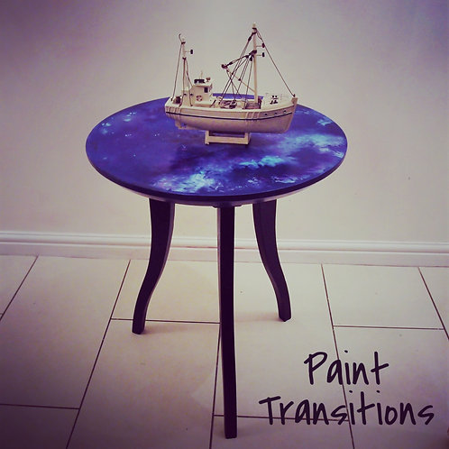 Wooden hand painted side table