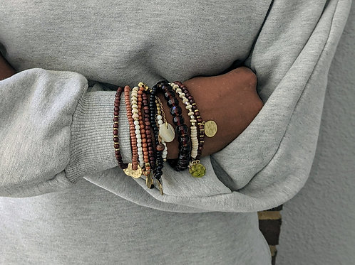 Beaded Brown Bracelet Set