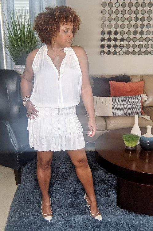 Sleeveless Pleated Mini Dress