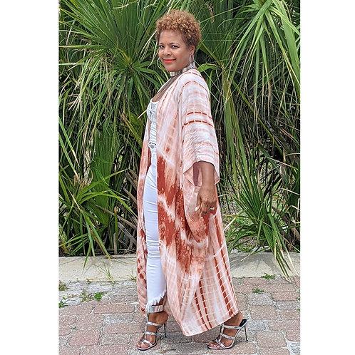 Terra Cotta Tie Dye Maxi Kimono