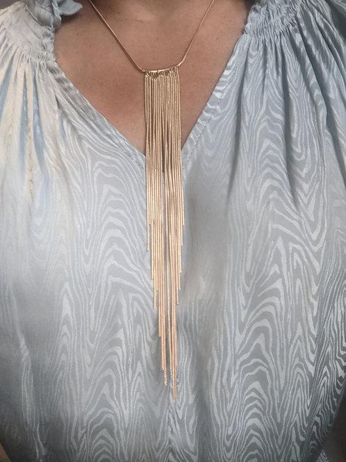 Fringe Gold or Black & Gold Necklace