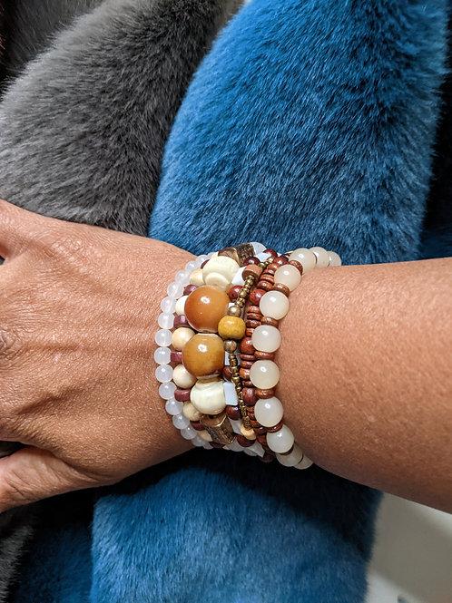 White &  Brown Marble Bracelet Set