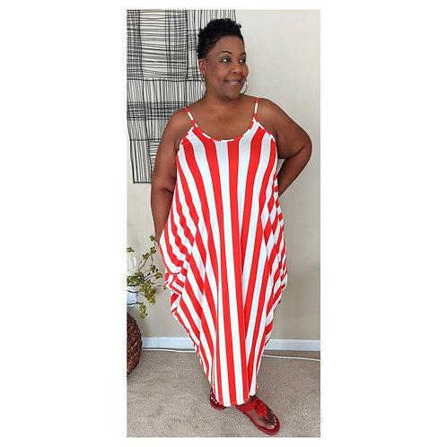 Red/White Maxi dress