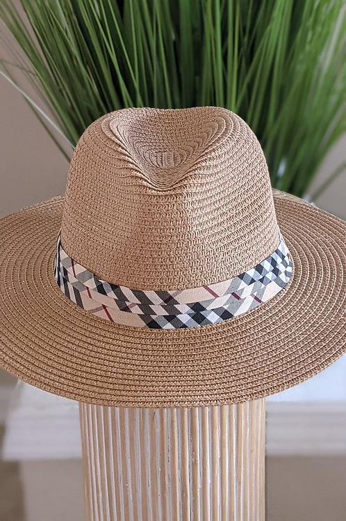 Plaid ribbon summer hat