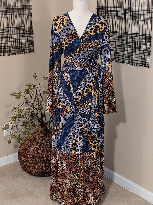 Plus Animal print Wrap Dress