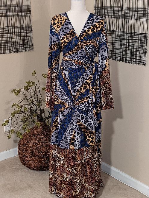 Plus Animal print Wrap Dress