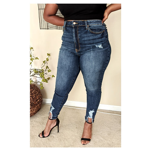 Plus Mid Waist Ankle Jean