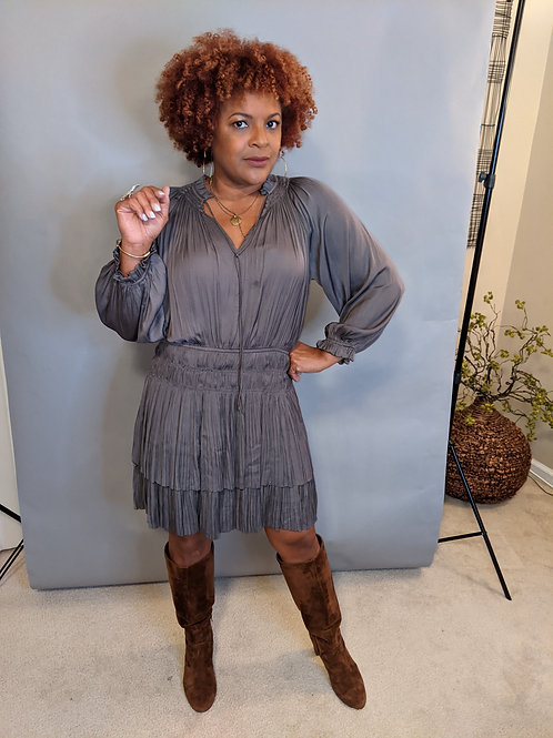 Pleated Mini layered Gun metal Dress