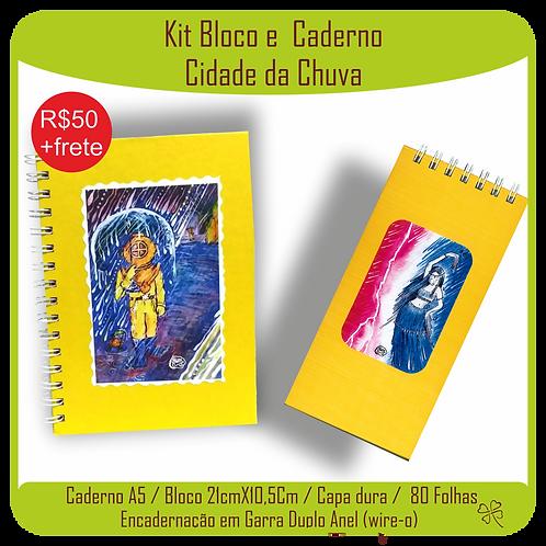 Kit Caderno e Bloco Caderno Cidade da Chuva