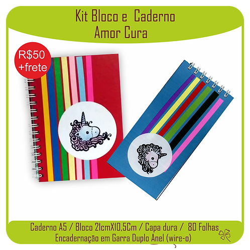 Kit Caderno e Bloco Caderno Amor Cura