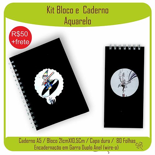 Kit Caderno e Bloco Caderno Aquarelo