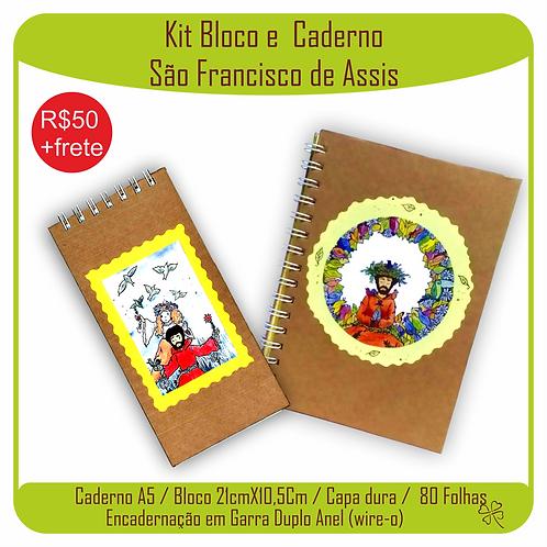 Kit Caderno e Bloco Caderno São Francisco