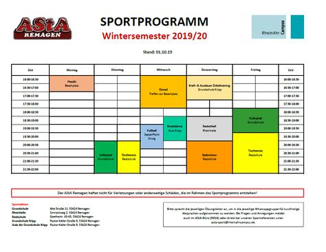 Sportprogramm WS 2019/2020