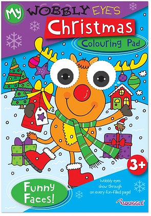 Wobbly Eyes Christmas Colouring Pad (Funny Faces)