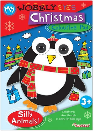Wobbly Eyes Christmas Colouring Pad (Silly Animals)