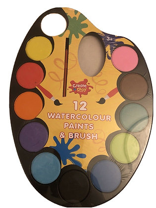 12 Watercolour Paint and Brush Set