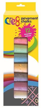Pavement Chalks (12 Assorted Colours)