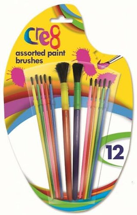 12 Assorted Paint Brushes