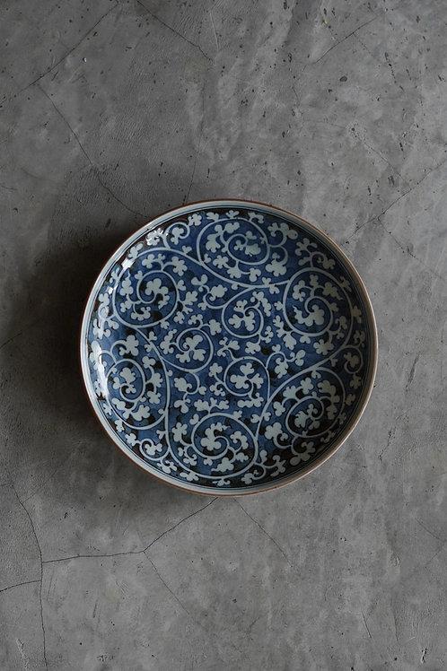 Vintage Hand-Printed Ceramic Plate