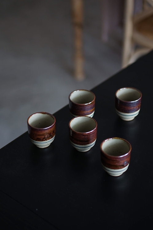 Vintage Minoyaki Glazed Ceramic Tea Cup Set
