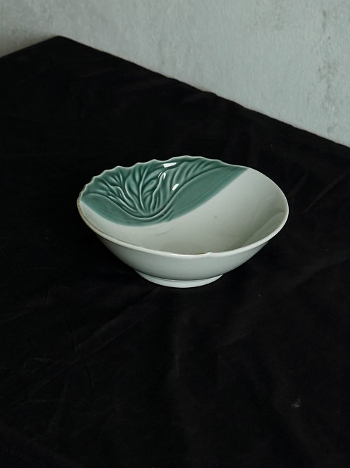 Green White Carved Ceramic Bowl