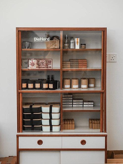 Vintage White & Brown Wooden Display Cabinet