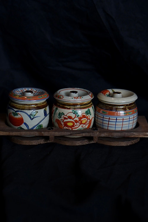 Vintage Japanese Style Hand Printed Sauce Jar Set with Wooden Rack 110034