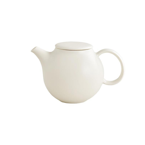 Pebble White Teapot with Stainless Steel Filter
