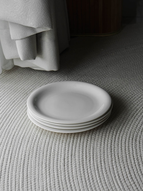 White Ceramic Plate Set (Set of 4)