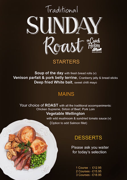 SUNDAY ROAST LUNCH winter December 2020