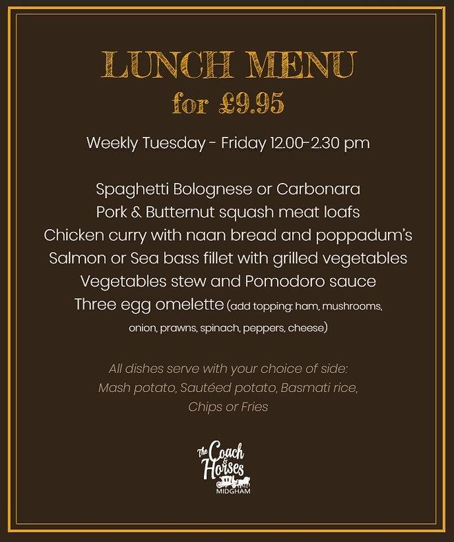 Lunch menu coach and horses midgham  sum