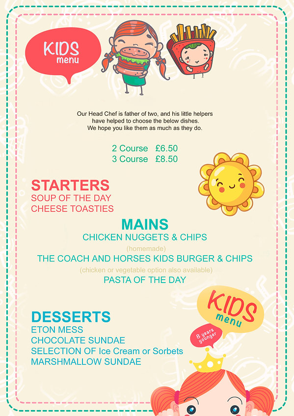 kids menu coach and horses midgham