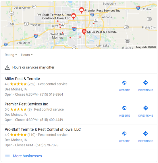 the local 3-pack has a map and lists what Google thinks are top providers in a geographic area.