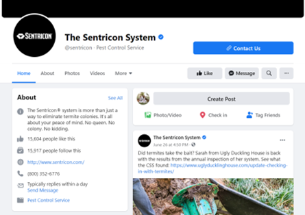 sentricon facebook tabs