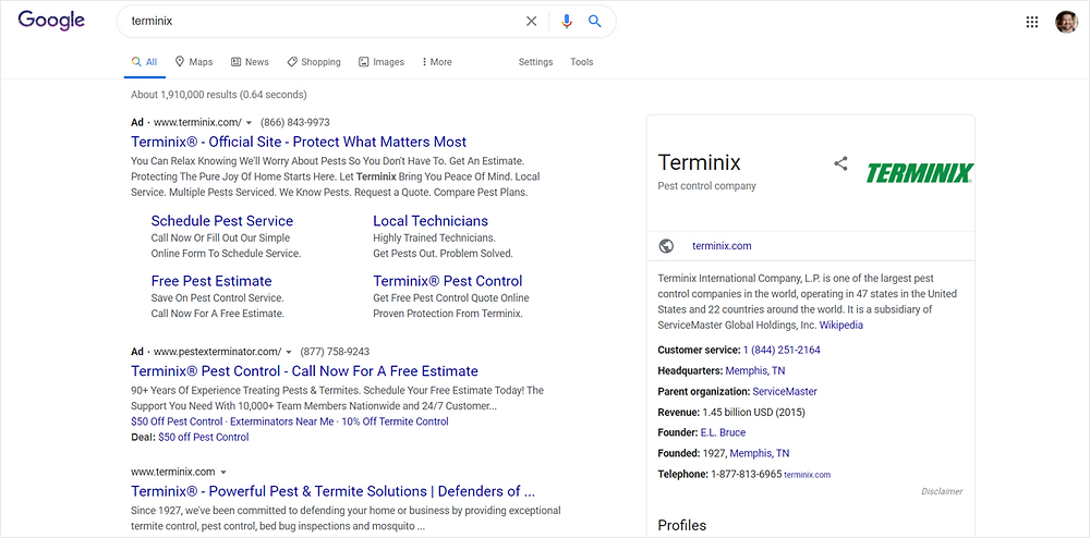 branded paid search example for Terminix