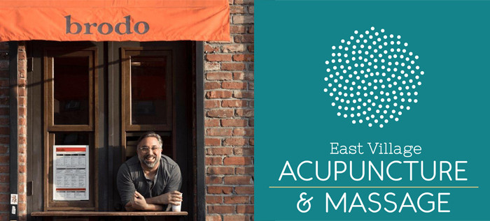East Village Acupuncture logo and Brodo storefront