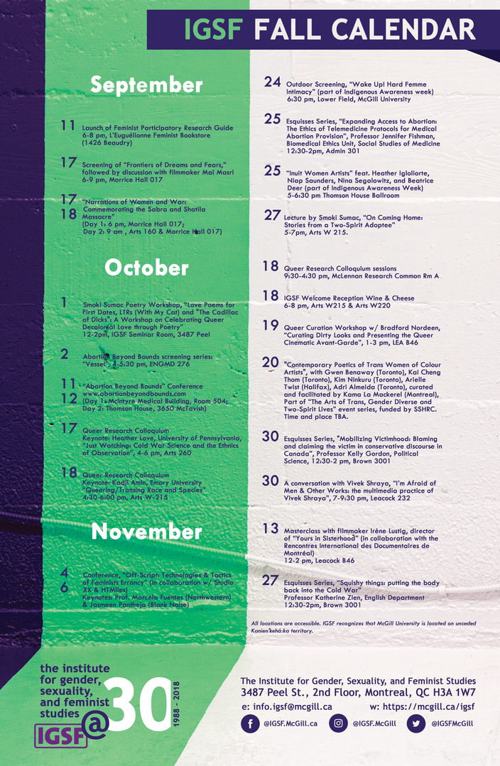Fall Calendar 2018