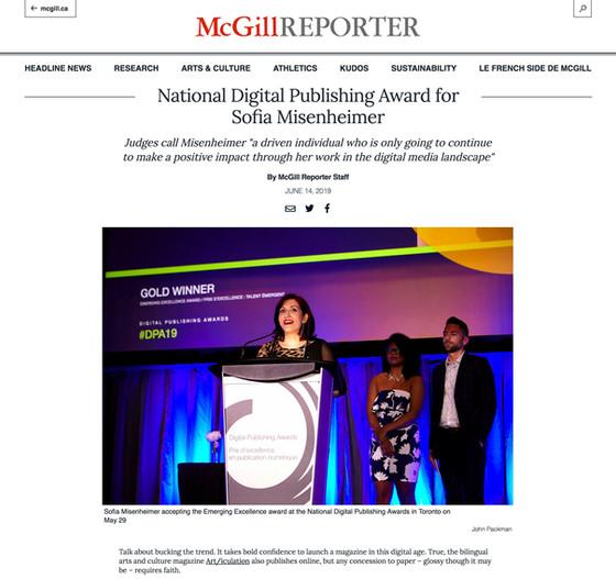 Profiled in the McGill Reporter