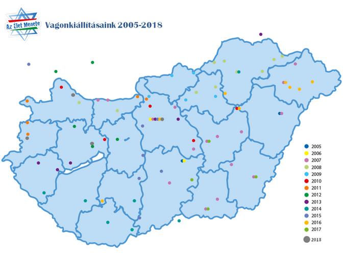 UTAZÓ VAGONKIÁLLÍTÁSUNK HELYSZÍNEI 2005-2018