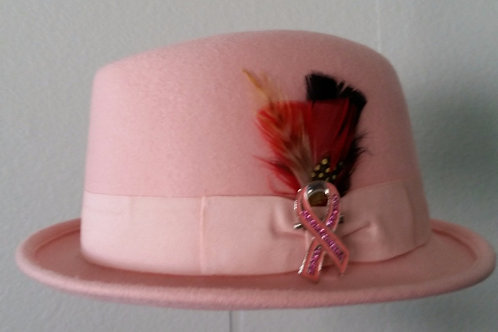 PINK WOOL CANCER SUPPORT FEDORA