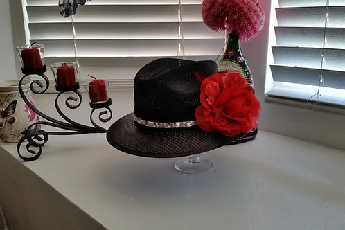 Ladies Viejo Black with Bling & Flower