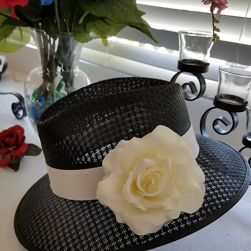 Ladies Black Viejo with White Band & Flower