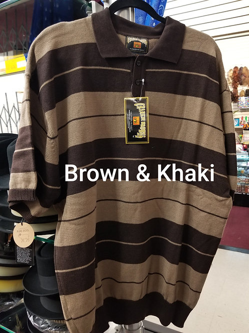 Brown & Khaki Stripe Charlie Brown knit shirt
