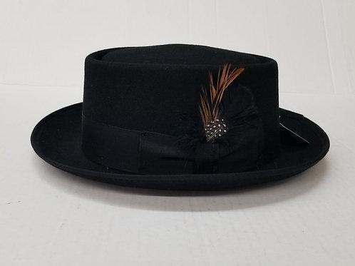 Black Porkpie Wool Hat