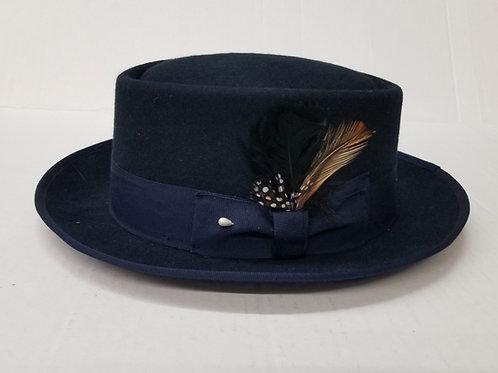 Navy Blue Porkpie Wool Hat