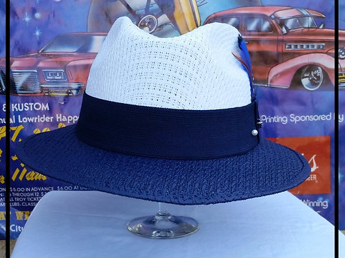 Viejo Two Tone White w/Navy Blue Brim